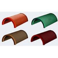 Полимерпесчаная черепица - ЭКОчерепица коньковая стартовая  цвет терракотовый