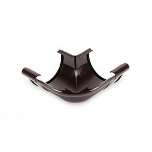 Внешний угол 90° GALECO PVC полукруглый с усиленным уплотнительным элементом, Ø 124 мм. (белый/коричневый)