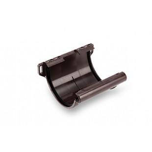 Соединитель желоба стабилизирующий с усиленной системой фиксации GALECO PVC, Ø 124 мм. (белый/коричневый)
